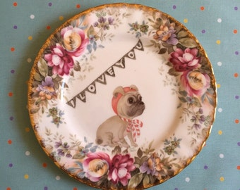 I Love You Fawn Pug with Classic Floral Vintage Illustrated Plate