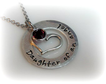Daughter of an Angel Necklace Memorial Jewelry Dad Memorial Loss of Mom Loss of Dad Mom Remembrance Dad Remembrance Jewelry Sympathy Gift