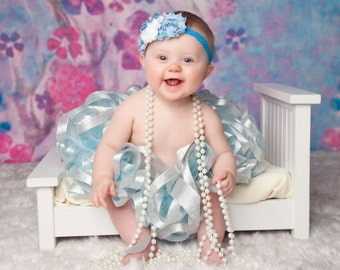 Winter Wonderland Ribbon Tutu, Silver & Blue Tutu, Baby Tutu, 1st Birthday Tutu, Baby Girls Tutu, Toddler Tutu, Tulle Skirt, Newborn Tutu