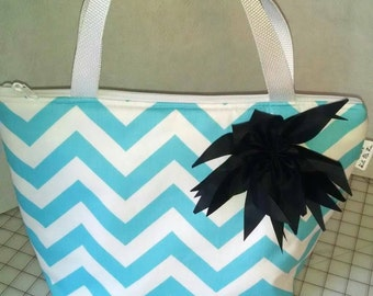 Insulated Lunch Tote Chevron with flower
