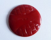 2 Inch Bakelite Basketweave Button Red