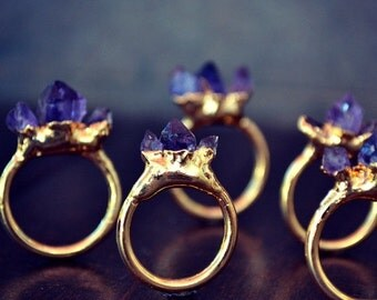 XMAS IN JULY Amethyst Mountain /// Stackable Gemstone Gold Electroformed Ring