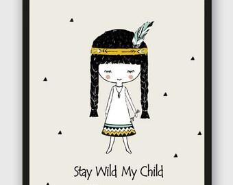 Minimalist Nursery wall art/ Indian girl Poster/Tribal wall hanging/Native American art/mint color