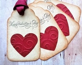 Valentine's Day Gift Tags February 14th Rustic Vintage Style Swirl Embossed Red Hearts