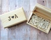 Ring Bearer Box Rustic Wedding Personalized Monogrammed Wood Burned Initials Heart