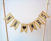 Mr & Mrs Wedding Cake Topper Pennant Rustic Vintage Banner