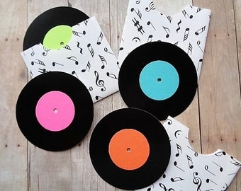 Mini Record Cards Music Note Envelopes Birthday Gift Card Place Cards