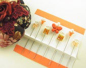 Sewing Pins Orange & Tangerine Butterfly with Milefiori