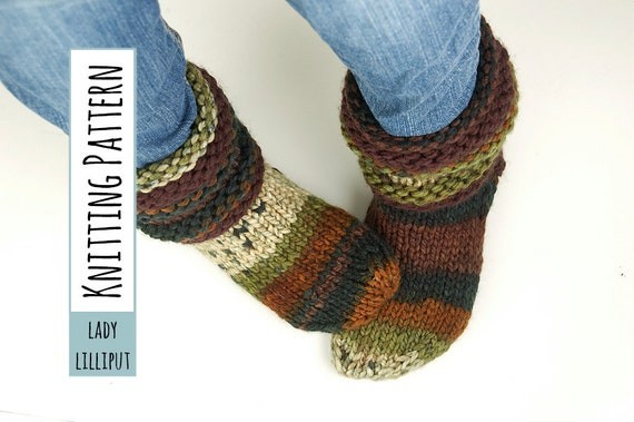 PATTERN - Knitted Slipper Socks