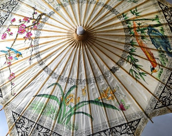 Vintage Chinese Paper Parasol Flowers Birds