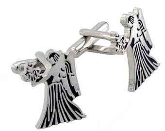 Virgo Astrology Sign Cufflinks Black and Silver Cuff links  1200282