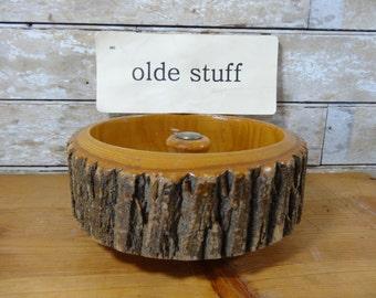 Vintage NutCracker Bowl Log Bark Dish With Metal NutCracker an Nut Picks