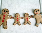 Christmas Gingerbread Man Family Garland Embroidered on Felt