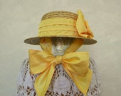 Summer Straw Sun Hat Skimmer Taffeta Bow Ties Under the Chin, Natural Straw Color, Golden Yellow Taffeta Accent, One Size Fits 2T thru 10