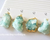 Druzy Druzy pendant Geode pendant druzes stone pendant 24k Gold plated Edge Druzy in Aquamarine blue color Jewelry making JSP-5884