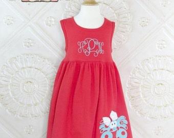 SALE, Crab Dress, Nautical Dress, Appliqued Dress, Embroidered Dress, Monogrammed Dress, Toddler Dress, Summer Dress, Sundress