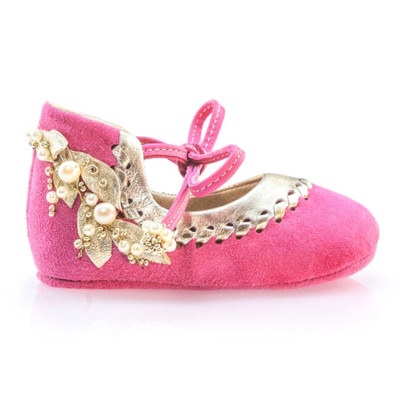 pink gold baby shoes baby moccasins newborn shoes baby