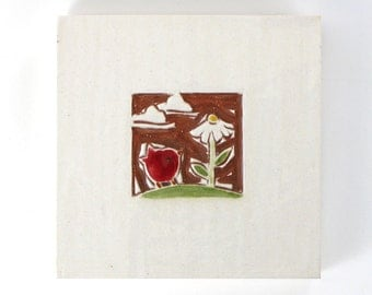 """Red Bird and Daisy handmade ceramic tile, wall hanging or coaster 4x4"""""""