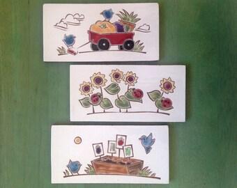 "Subway tiles, birds and garden theme, handmade ceramic tiles 3""x6""x1/4"", Set of 4"