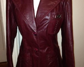 70's Oxblood Red Leather Designer Jacket By Etienne Aigner