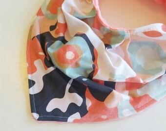 Bandana Bib - Baby Bib - Toddler Drool Bib - Girls Bandana Bib - Coral Navy Baby Bib - Baby Shower Gift - Adjustable Baby Bib