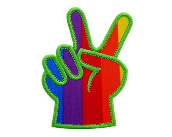"""Victory Peace Sign Applique Machine Embroidery Design Patterns in 4 sizes 3"""", 4"""", 5"""" and 6"""""""