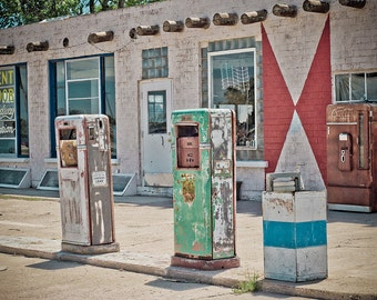 Poster Wall Decor Midway Station Rt. 66 Adrian Texas Retro Gas Pumps