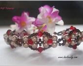 Beaded Bracelet Pattern - Red Antique Style Pearl Bracelet (BB174) - Beading Jewelry PDF Tutorial (Digital Download)
