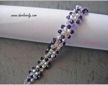 Beading Bracelet PDF Pattern - Purple Hexagonal Flower bracelet (BB086) - Beading Jewelry PDF Tutorial (Instant Download)