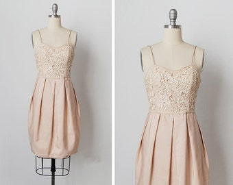 vintage 1960s dress / 60s soutache dress / cream silk dress / Snow Seedling dress