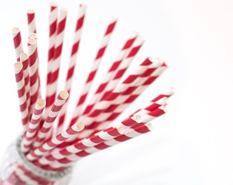 20 paper straws red stripes