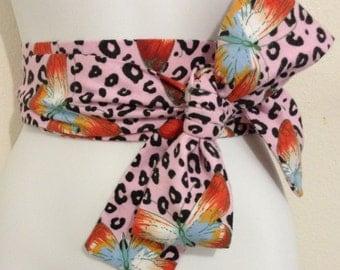 Kimono Obi Belt Sash One Size Pink & Black Leopard Butterfly