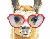 Llama Watercolour PRINT - 8x10 Art Print, Heart Shaped Glasses, Llama Illustration