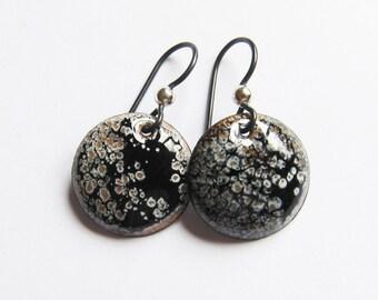 Black drop earrings Hypoallergenic niobium wires Small enamel disc earrings Modern enamel jewelry