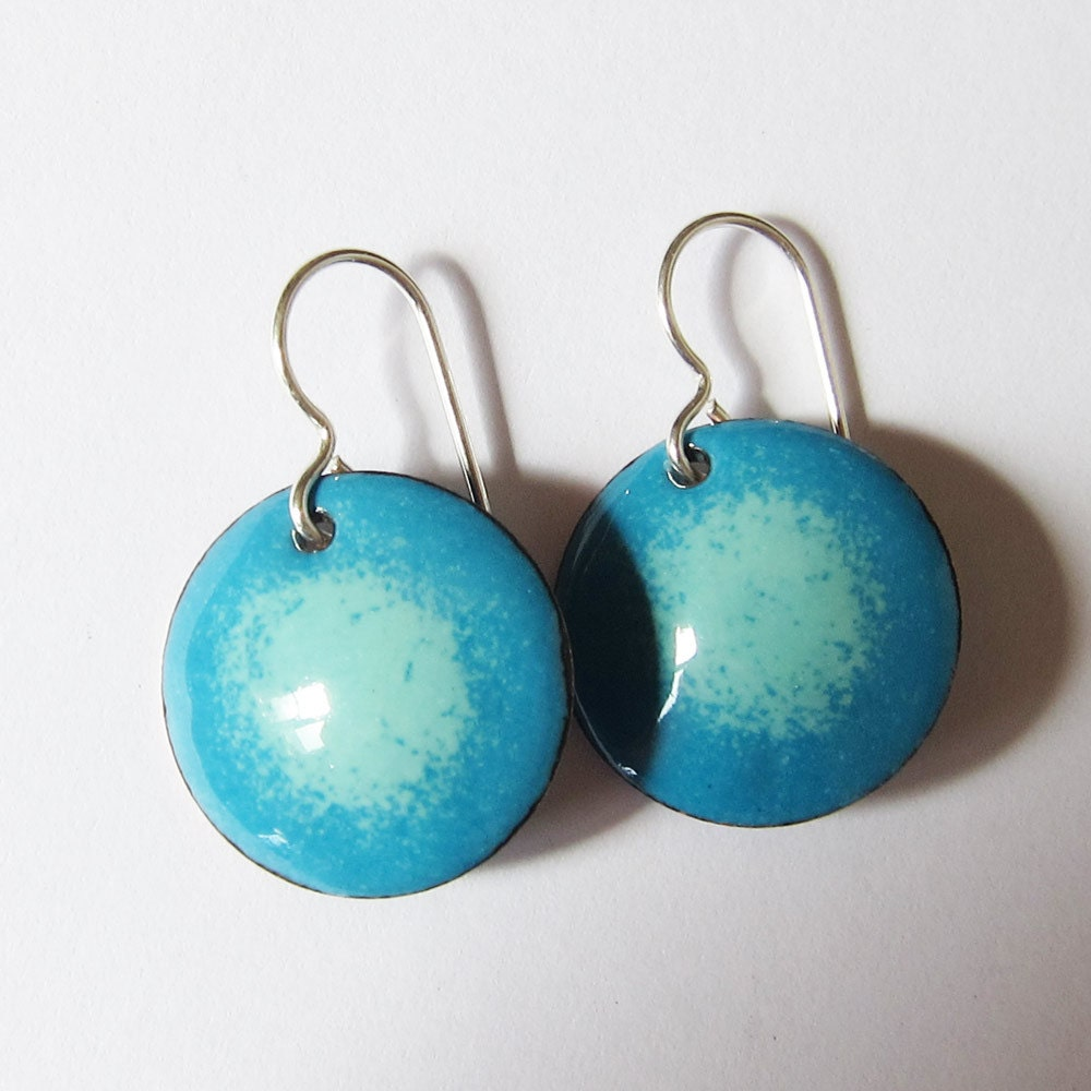 Small Blue Earrings: Blue Enamel Earrings Aqua Disc Dangles Small Lightweight Round