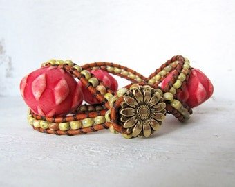 Brown Leather Twisted Cuff Bracelet, Leather Wrap Bracelet, Yellow, Pink, and Brown Leather Cuff Bracelet, Circus Pink Sunflower Bracelet