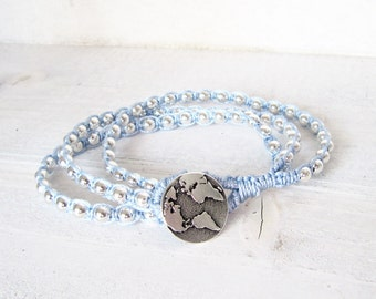 Morning Blue and Macrame Wrap Bracelet, Silver Globe Macrame Bracelet, Silver Beaded Bracelet