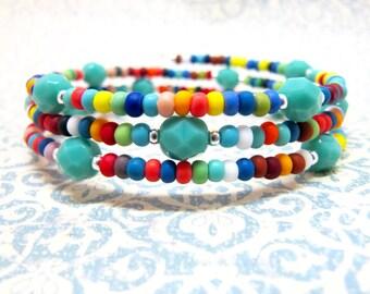 Turquoise Multi Colored Memory Wire Bracelet Bright Colorful Spring Bohemian Beaded Memory Wire Wrap Bracelet Rainbow Bracelet