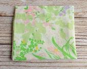 Vintage Pillowcase / Green, Pink & Blue Floral / Vintage Linens / Vintage Bedding