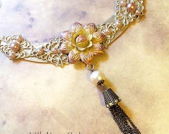 Rose Assemblage Necklace, Rose necklace, crescent necklace, Pearl tassel necklace, Floral Assemblage Necklace