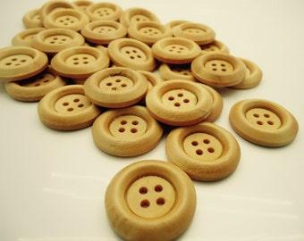 15 x Natural Wooden Buttons - Round Buttons - Wooden Supplies -  23mm - (1)