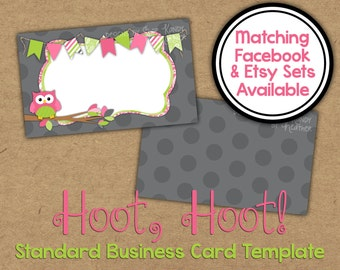 Owl Business Card - 2 sided Gray, Pink, Lime Business Card - Vista Print Business Card Template