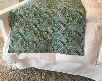 Bed Runner | Bed Scarf | Queen Bed | Twin Bed | King Bed | Pillow Cover Sham | Paisley | Blue | Teal | Aqua Brown | Coastal Living Decor