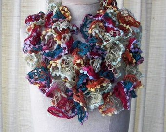 Hand Knit Ruffle Girly Scarf Necklace / Gift under 15 dollars