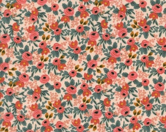 Rosa in Peach from the Les Fleurs collection by Rifle Paper and co for Cotton and Steel