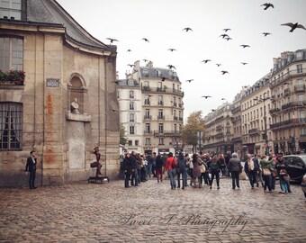 "Fine Art Photograph """"This Is Paris"" Wall Art Paris France French European Decor Print Red Pigeons Birds Architecture Neutral Brown Gift"