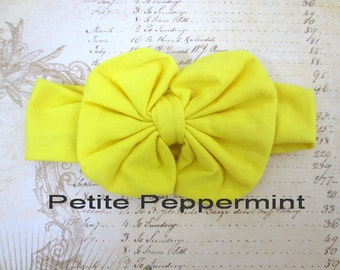 Yellow Baby headband, baby girl headband, baby head wrap, messy bow headband, Baby Hair Bow, Baby Head Band,Yellow Baby Flower Headband