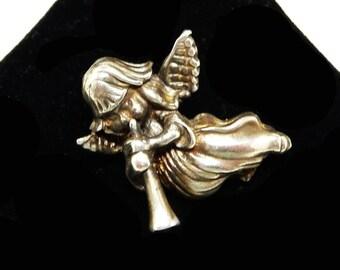 Trumphet Angel Brooch - Silvertone Musical Pin - Flying Angel - Mid Century