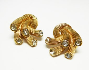 Signed Trifari Earrings - Goldtone Coral Shaped Earrings with Clear Rhinestones on the Tips - Vintage Clip on Style