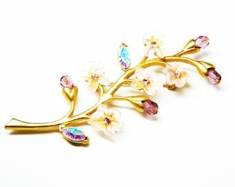 Dogwood Flower Branch Brooch - Pink Flowers, Amethyst Buds, Aurora  - Spring Flowers Pin - Vintage Signed Avon - 1990's